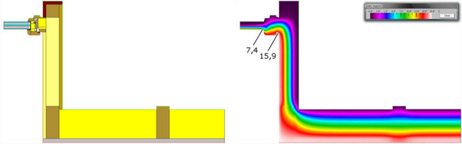 Wärmebrückendetail als Konstroktionszeichnung und als Wärmeverteilung in Falschfarben